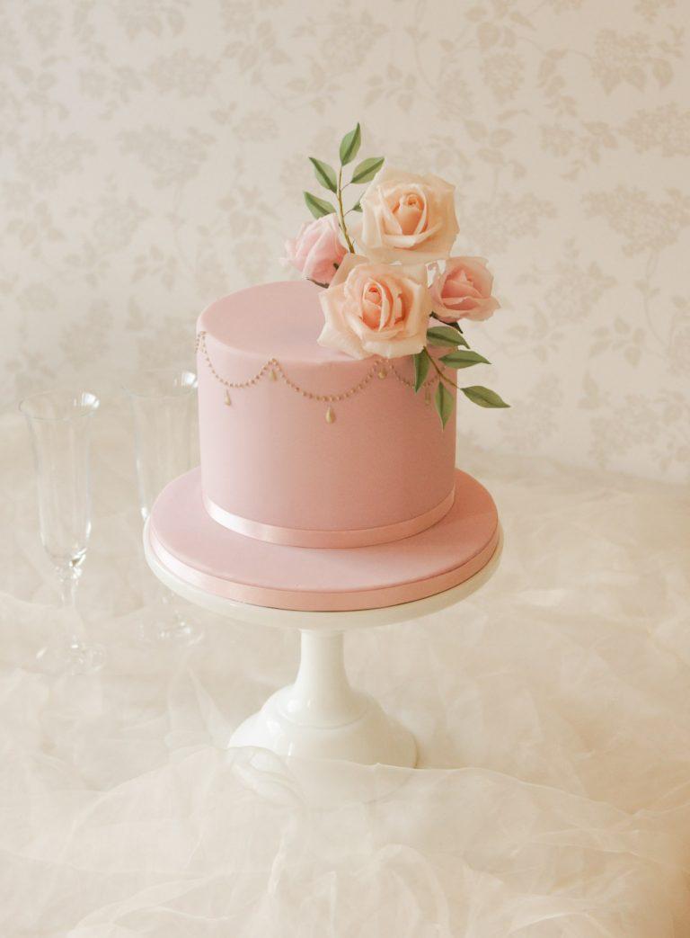 elegant dusky pink birthday cake