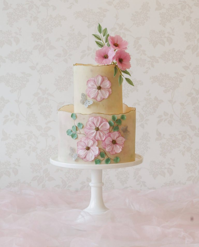 bespoke celebration cakes in milton keynes floral cake with pressed sugar flowers