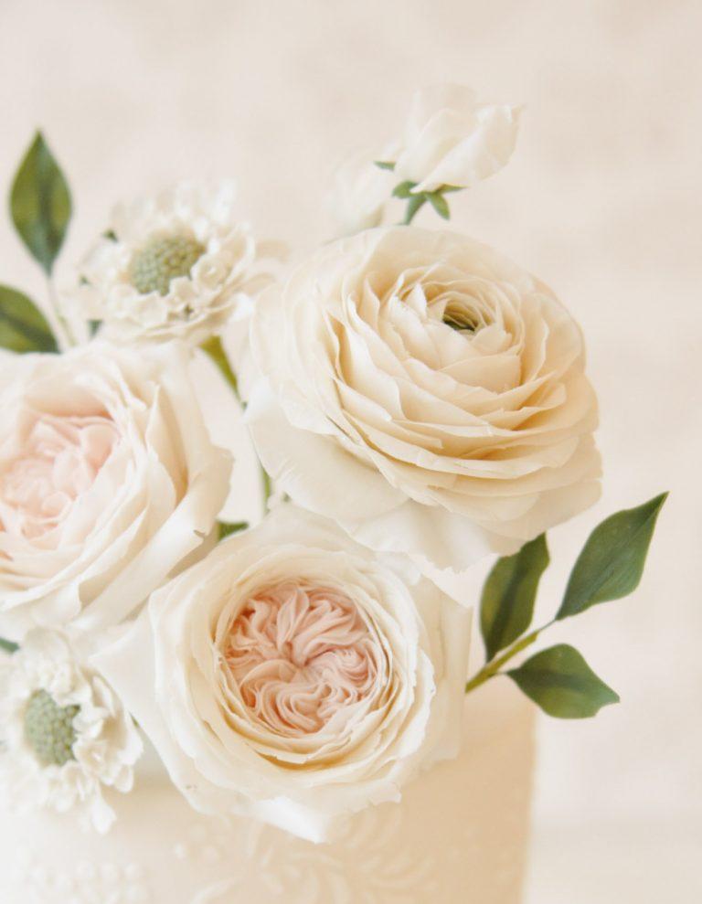 white handmade flowers for wedding cakes in milton keynes