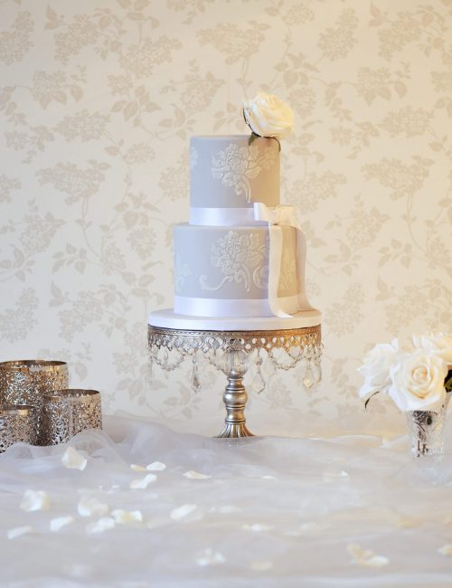 2 tier grey wedding cakes