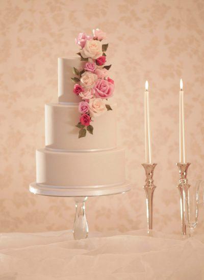 grey wedding cakes with rose cascade