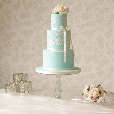 teal wedding cake