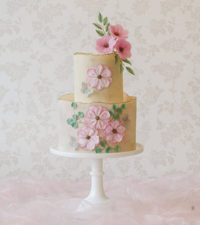 Floral celebration cakes with pressed sugar flowers