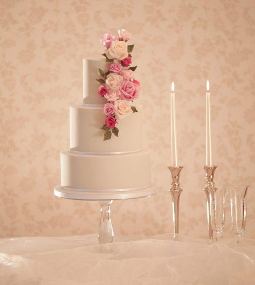 wedding cakes in Aylesbury grey wedding cake with handmade flowers in purple tones