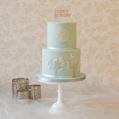celebration cakes in milton keynes light blue two tier first birthday cake