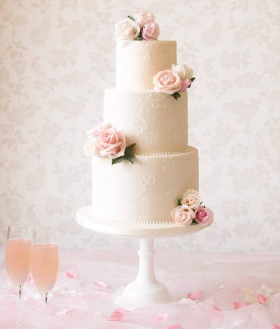 ivory vintage lace cake with blush florals