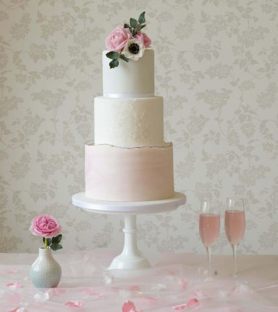 white and pink marble wedding cake